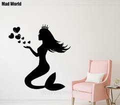 online buy wholesale mermaid bathroom decor from china mermaid mad world water nymph mermaid bathroom wall art stickers wall decal home diy decoration removable