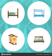 Crib Bunk Bed Sets Flat Bed Set Of Crib Bunk Bed Bed And Other Vector Objects Also