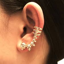 skull ear climbers gold ear jacket ear cuff awesome skulls