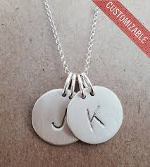silver necklace with letters images 45 initial necklace charms initial necklace center stamped gosia jpg