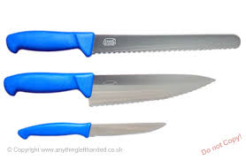 left handed kitchen knives set of 3 left handed knives with scalloped blades and blue handles
