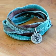 wrap bracelet with charms images Ultra easy 2 knot ribbon wrap bracelet with charm at www hap jpg