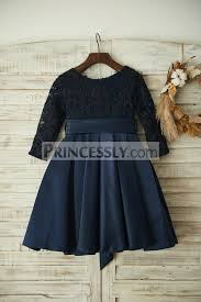 long sleeves navy blue lace satin wedding flower dress with belt