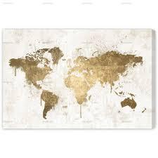 World Map Duvet Cover by Mapamundi White Gold U2014 Oliver Gal