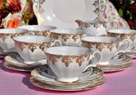 vintage tea set white and gold bone china 21 vintage tea set to buy