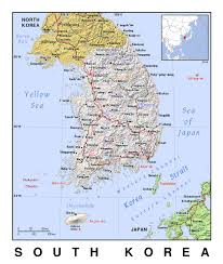 South Asia Political Map by Detailed Political Map Of South Korea With Relief South Korea