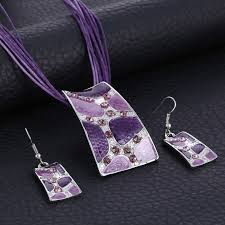 multi rope necklace images New vintage necklace earring sets multi ropes leather silver jpg