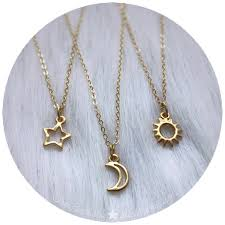 star friendship necklace images Dainty gold tone sun moon or star necklace friendship best jpg