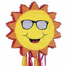 themed pinata summer party supplies including a sun pinata balloon
