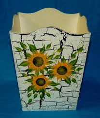 Sunflower Home Decor by Wood Trash Can Decorative Hand Painted Waste Basket Sunflowers