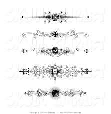 vector clip of a set of five black and white flourish iron
