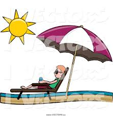 Clip On Umbrellas For Beach Chairs Vector Graphic Of A Red Haired White Stick Boy Relaxing In A