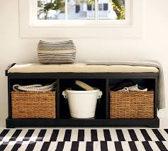 Bench With Baskets Samantha Bench Black Pottery Barn