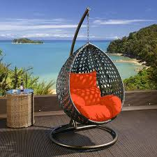 Chair Swing Large Black Rattan Garden Hanging Chair Swing With Orange Cushions