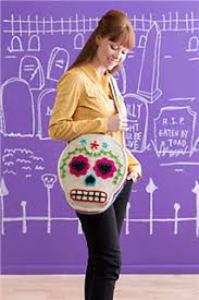 ravelry sugar skull shoulder bag pattern by brenda k b