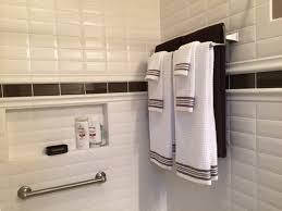 bathroom border ideas white subway tile border idea cabinet hardware room