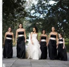i like the idea of a black bridesmaid dress with a white sash