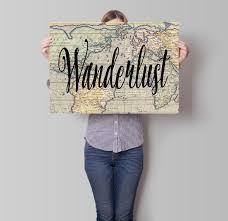 Printable World Map Printable Wanderlust Map Poster Travel Art Motivational