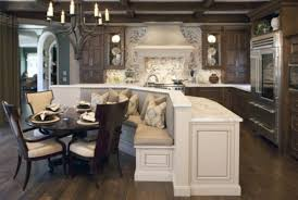 classic kitchen ideas with dark wood brown cushion 4 seating