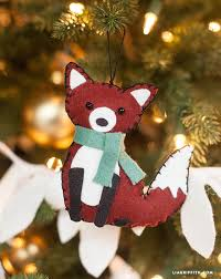 felt ornaments fox animal felt ornament felting foxes and ornament