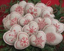 embroidered snowflake linen ornaments bowl fillers