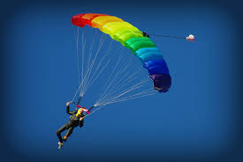 Usa Rainbow Flag Jump For Pride Parachute Into St Aubin U0027s Bay Jersey Liberate