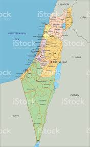 political map of israel israel highly detailed editable political map with labeling stock