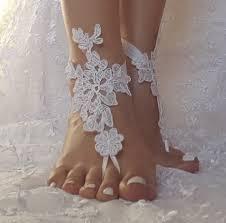 white ivory champagne beach wedding barefoot sandals shoe