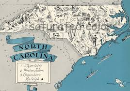 Unc Map North Carolina Map Vintage High Res Digital Image Of A
