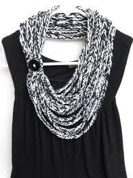 crochet chain scarf necklace scarf infinity scarf black and