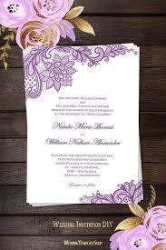 wedding invites templates vintage lace wedding invitation purple wedding template shop