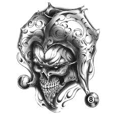urban realistic temporary tattoo joker skull u0026 8 ball made in