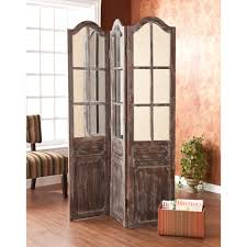 Wooden 3 Panel Screen Room Divider In Distressed Furnishing Style