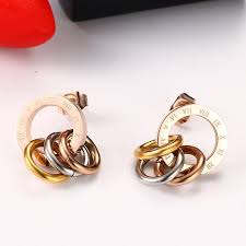 allergy free jewelry tyme stainless steel gold color stud earrings allergy free jewelry