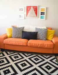 custom ikea kivik sofa cover 3 seater in kino orange fabric