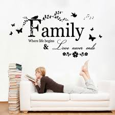 popular family quotes decals buy cheap family quotes decals lots wall sticker family where life begins wall art decor quote sticker decal flower birds mural