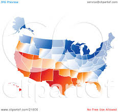United States On A Map by Clipart Illustration Graphic Of A Gradient Red Orange White And