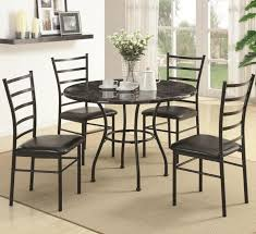 great dining room decoration with five pieces metal dining table
