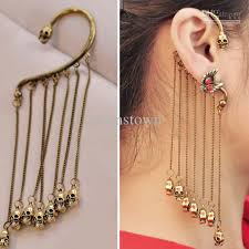 2018 fashionable two sided skull tassel ear hook earrings for