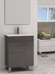 Porcelain Bathroom Vanity Eviva Cup 24 Grey Modern Bathroom Vanity With White Integrated