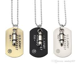 army jewelry army style bullet dog tag pendant necklace women men rock hip
