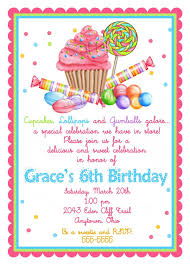 Invitation Cards For Birthday Party Sweet Candyland Birthday Party Invitation Card Or Announcement