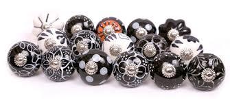 black u0026 white color ceramic knobs handpainted kitchen cabinet