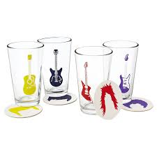 Drink Coasters by Guitar Glasses And Coasters Rock Glass Music Drink Coasters