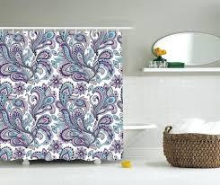 Purple Shower Curtain Sets - floral flower fabric shower curtain purple teal blue art bathroom