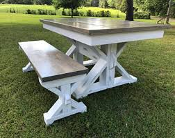 Rustic Farmhouse Dining Table With Bench Farmhouse Table Etsy