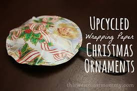 craft upcycled wrapping paper ornaments