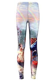 blue beauty beast printed chic womens leggings pink queen