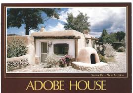 vintage postcard santa fe new mexico nm adobe house chrome petley
