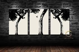 3panels best quality trees painting on canvas scenery paints